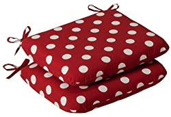 Pack of 2 Outdoor Patio Furniture Chair Seat Cushions - Red & White Polka Dot