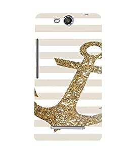 PrintVisa Golden Glitter Anchor 3D Hard Polycarbonate Designer Back Case Cover for Micromax Canvas Juice3 Q392