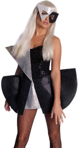 Lady Gaga Black Sequin Dress,Black/Silver,Small Costume