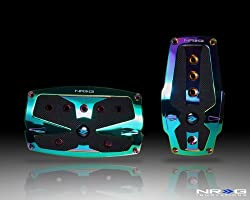 NRG Innovations PDL-250MC Neochrome Aluminum Sport Pedal with Black Rubber Inserts AT Neo Chrome