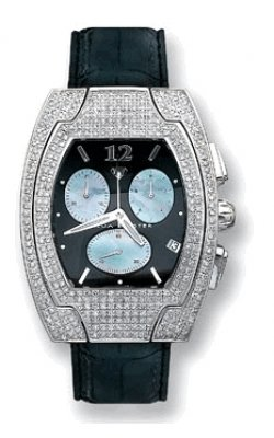 Aqua Master Men's Diamond-Cut Fancy Stainless Steel 4.00ctw Diamond Watch with Black Dial And Black Leather Strap W#36