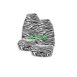 Set of 2 Universal-fit Animal Print Front Bucket Seat Cover - Black and White Zebra