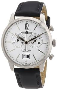 Zeppelin Men's Quartz Watch FlatLine Chronograph 73861 with Leather Strap