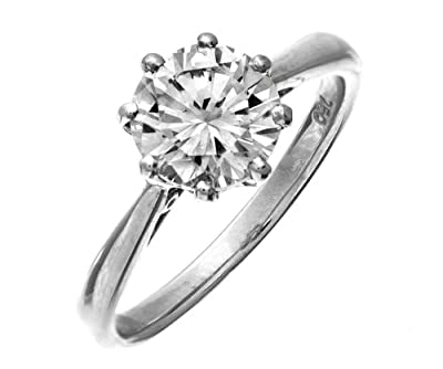 Certified Classical 9 ct White Gold Ladies Solitaire Engagement Diamond Ring Brilliant Cut 2.00 Carat KL-SI1