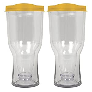 Vino2Go 16 Ounce Yellow Insulated Beer Tumbler With Drink Through Lid, Set of 2