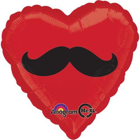 """18"""" Mustache Heart Foil Balloon"""