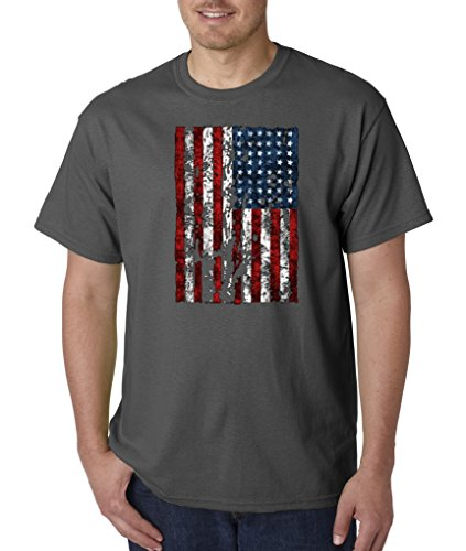 American Flag Distressed Tattered Vintage Usa Patriot Glory T-Shirt S-5Xl - Charcoal - 2Xl