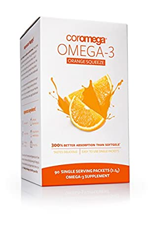 Coromega Omega-3 Supplement, Orange Flavor, Squeeze Packets