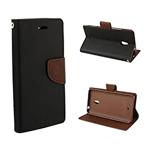 DENICELL Royal Dairy Style Flip Cover For Samsung Galaxy Note 4 Edge (BLACK-BROWN)