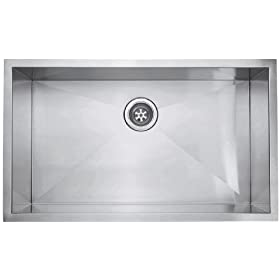 Schon SC3219 Single Bowl Zero Radius Kitchen Sink, Stainless Steel