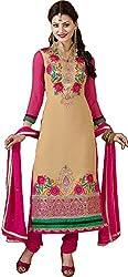 Fawn and Magenta Semi Stitched Churidar Kameez Suit