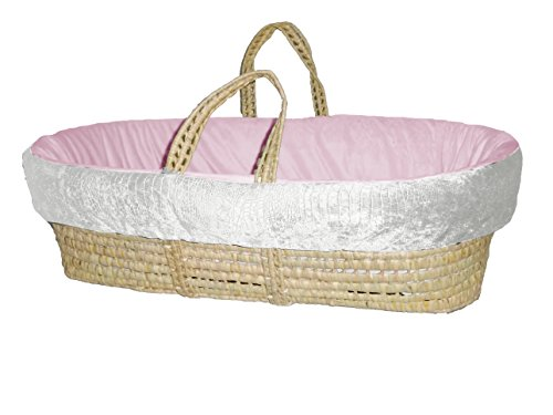 Baby Doll Croco Minky Moses Basket, Ivory/Pink - 1