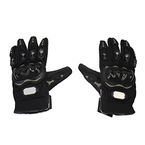 Motorcycle Motorbike PU Leather Fiber Full Fingers Protective Gloves Black XL