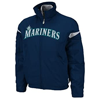 MLB Seattle Mariners Triple Peak Ladies Jacket, Navy Silver by Majestic
