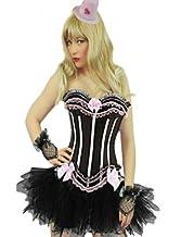 Yummy Bee Burlesque Corset & Tu Tu Skirt Costume Ladies Fancy Dress Hen Outfit Plus Size 6-24 (Women: 6-8, Pink + Tutu)