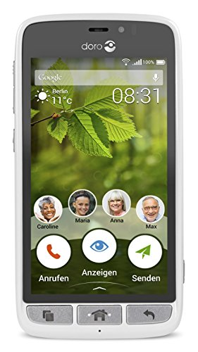 Doro 8031 4G Smartphone (11,4 cm (4,5 Zoll), LTE, 5 MP Kamera, Android 5.1) weiß/silber