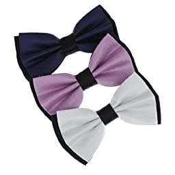 DBE3F02 Economics Fabric Plum Checkered White Black Dress Presents Dark Blue Dark Blue Microfiber Pre-Tied Bowties 3 Package Set By Dan Smith