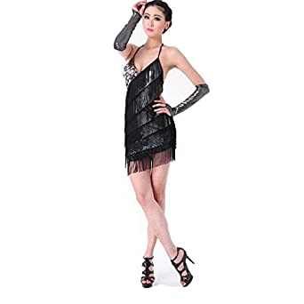 Women's Tassel Sequin Strap Latin Rumba Dance Ballroom Fancy Dress Costume - Black