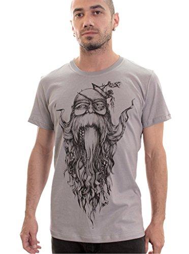 Beard Wise T-Shirt for Men - 100% Cotton Top Regular Fit - Original Artwork by Plazmalab - in Grey - Large