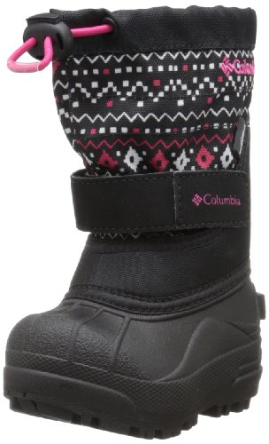 Columbia Powderbug Plus II Print Boot - Toddler Girls' Black/Bright Rose, 6.0