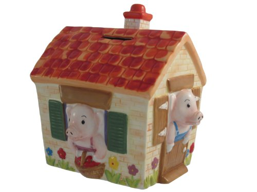 Belleek UNIV255 Three Little Pigs Money Box, Multicolor, 7.1-Inch