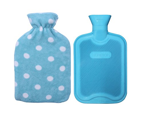 Premium Classic Rubber Hot Water Bottle with Soft Fleece Cover (2 Liters, Blue / Blue Polka Dot) (Ice Blue Contacts)