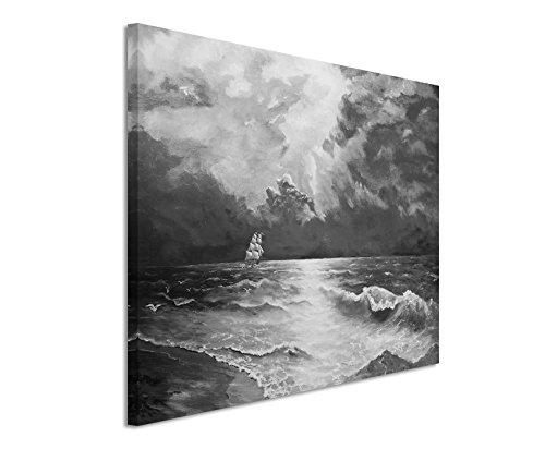 50x70cm Leinwandbild schwarz weiß in Topqualität Ölgemälde Segelndes Schiff
