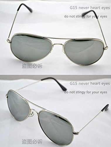 Mirror glass lens sunglasses men holiday women color uv400 sun glasses (Silver Mirror)