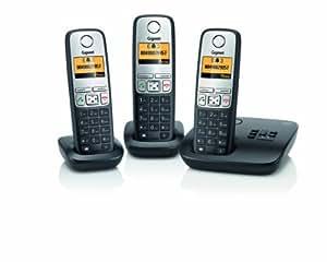 Gigaset A400A Trio Dect-Schnurlostelefon mit Anrufbeantworter, incl. 2 zusätzlicher Mobilteile, schwarz