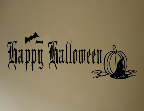 Halloween Decoration Wall Decals Happy Halloween with bats and pumpkin