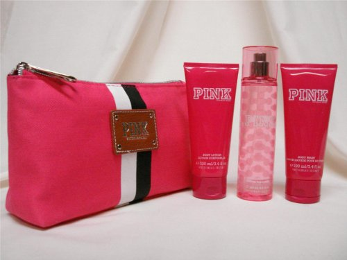 Victoria's Secret PINK 4 Piece Gift Set Clutch Purse, Fragrance Mist, Body Lotion and Body Wash