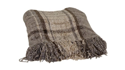 Brentwood 3870 Milano Chenille Throw Blanket, 50 By 60-Inch, Taupe Plaid