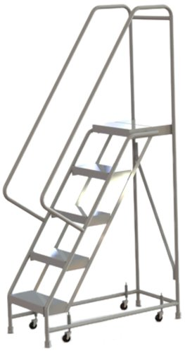 Tri-Arc WLAR105164 5-Step All-Welded Aluminum Rolling Industrial & Warehouse Ladder with Handrail, Ribbed Tread, 16-Inch Wide Steps