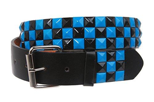 Snap On Punk Rock Black & Azure Blue Star Studded Checker Board Pattern Leather Belt Size: S 30-32