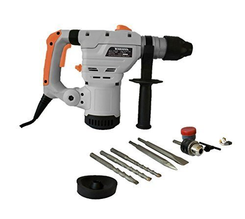 418pmhrlruL - BEST BUY #1 Terratek 1500W SDS Plus Rotary Hammer Drill, Includes Auxiliary 3-Jaw Chuck & Key, Complete with 5pc Drill Bit & Chisel Set
