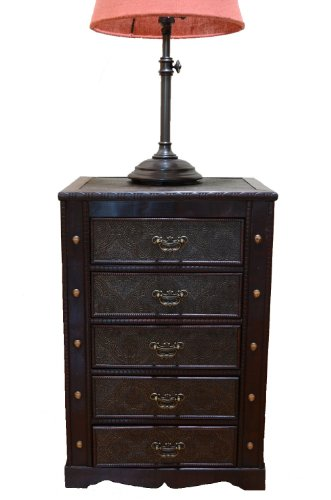 Decorative New England Night Stand With Drawers Treasure Chest Trunk front-1034632