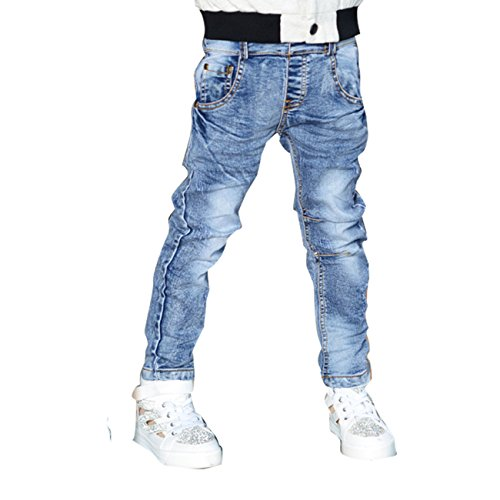 Little Hand Little Boys' Straight Elastic Denim Pant Jeans Blue 5-6Y front-990547