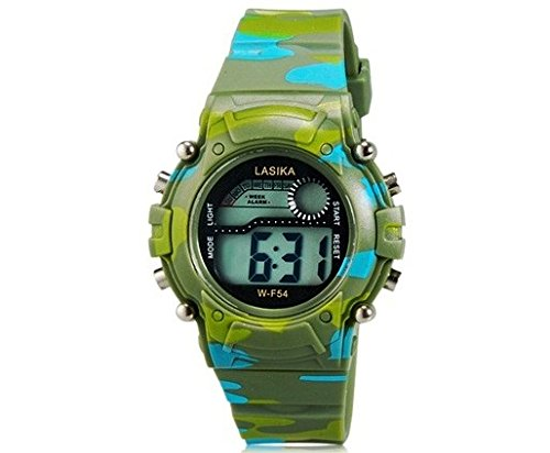 Lasika W-F54 Children'S Led Electronic Watch With Calendar, Alarm Clock & Backlight Display (Green)