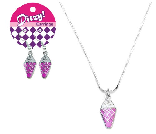 Zorbitz Ditzy Earring/Necklace Set, Ice Cream