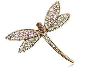 Swarovski Crystal Elements Antique Inspired Rose AB Dainty Dragonfly Pin Brooch
