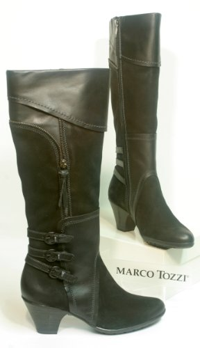 Marco Tozzi TREND Leather Boots black Tight Bootleg Size. 4