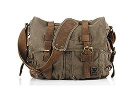 Sechunk Vintage Military Leather Canvas Laptop Bag Messenger Bags