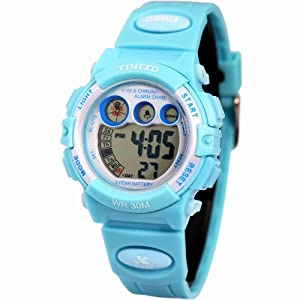 Time100 Multifunctional Digital Sport Electronic Light Blue Bezel Kids Watch #W40003M.04A