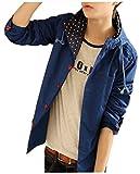 【PALERO・パレロ】 選べる5色 ジャケット メンズ パーカー ブルゾン 長袖 フード 春 秋 コート シンプル ボタン (L, ダークブルー)