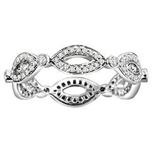 14k White Gold Diamond Fashion Eternity Ring (0.45 cttw, H-I Color, I1-I2 Clarity), Size 7