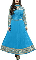 Shiv Fab Women's Georgette Unstitched Dress Material (Blue)