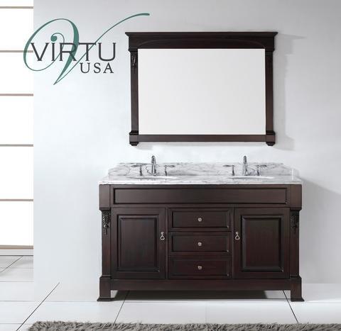 Virtu Usa Gd?4060?Wmsq?Dw 60-Inch Huntshire Double Square Sinks Bathroom Vanity In Dark Walnut With Italian Carrara White Marble