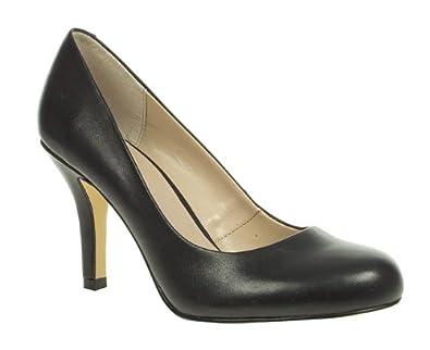lotus womens black leather mid heel toe court