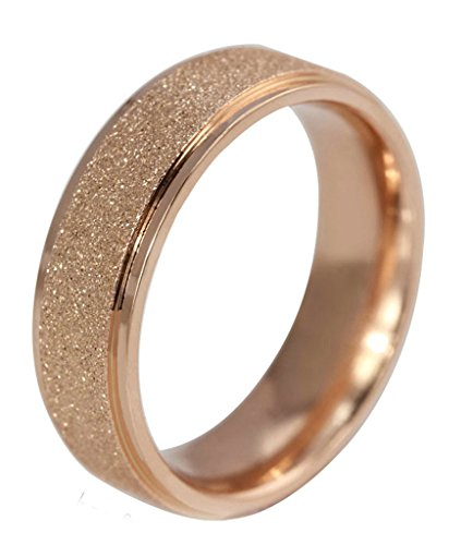 gnzoe-women-stainless-steel-sand-blast-finish-rose-gold-wedding-band-engagement-bevelged-ring-size-9