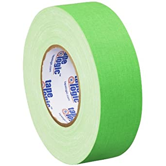 """Tape Logic T9874FG3PK Gaffers Tape, 11 mil Thick, 50 yds Length x 2"""" Width, Fluorescent green (Case of 3)"""